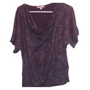 NY Collection silver swoopneck sparkle top-A51